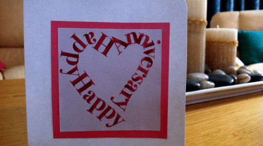 Red and white Type Drawing anniversary card