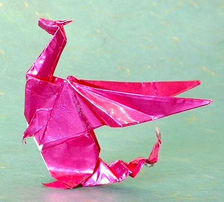 pink origami dragon by Gilad Aharoni