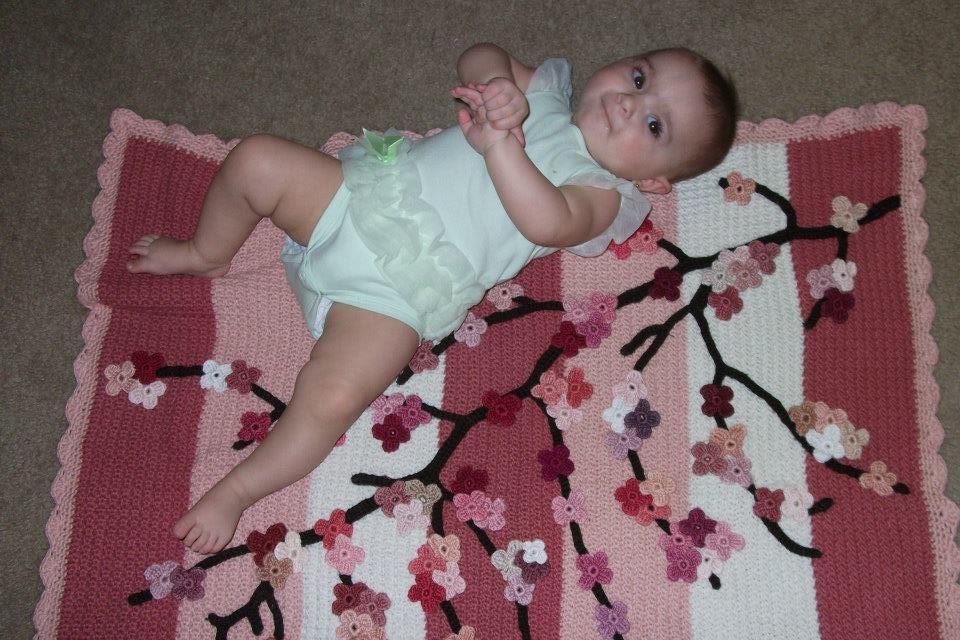 Crochet, Cherry Blossom, Baby Blanket, Crochet Flowers, Crochet Branch,