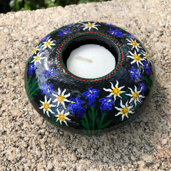 Hand cast, hand painted tea light holder with Edelweiss and Gentian Violet Design with unlit candle