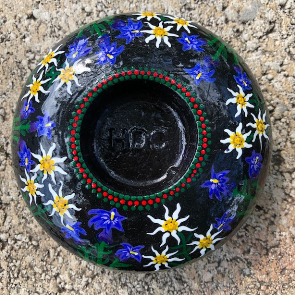 Hand cast, hand painted tea light holder with Edelweiss and Gentian Violet Design without candle