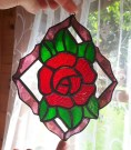 Stined Glass Rose made for Ruby Wedding Anniversary