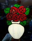 Stained Glass Vase of Roses