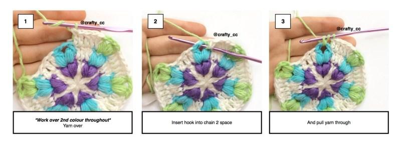 Puff stitch 1-3