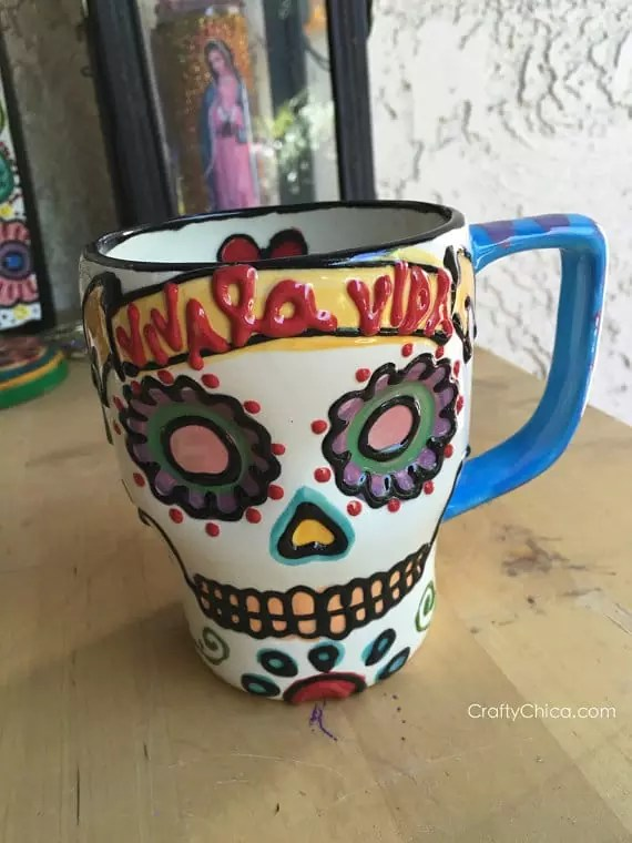 Handpainted Day of the Dead Mug by Crafty Chica