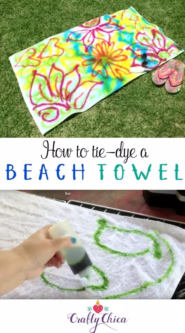 How to tie-dye a beach towel, by Crafty Chica.