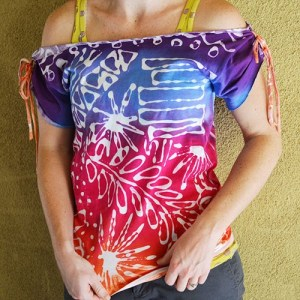 Glue resist dyed shirt by Crafty Chica.