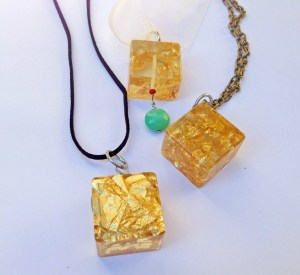 Gold flakes in resin jewelry.
