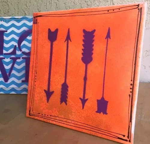 Spray Paint Canvas Art! Use lace, stencils and spray paint to make a colorful canvas! CraftyChica.com