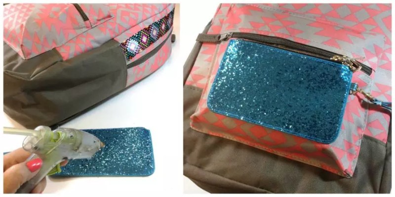 Use hot glue to affix a coin purse to a fabric backpack.