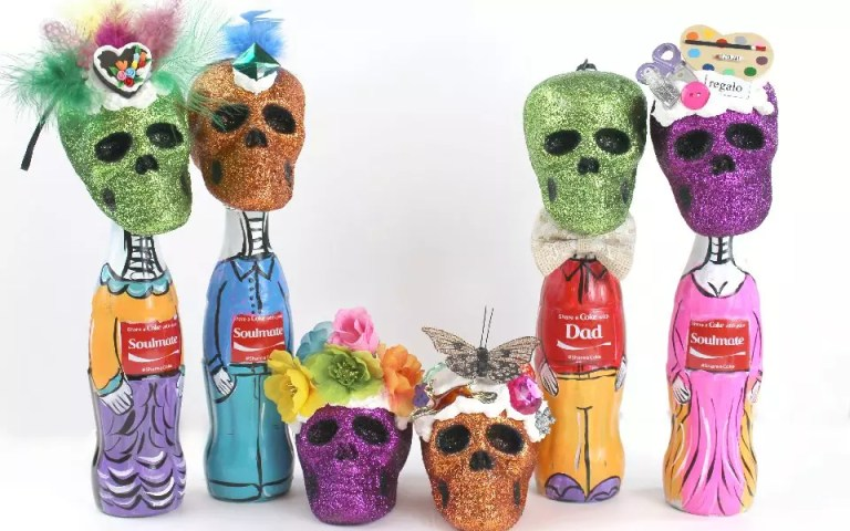 how ot make Dia de Los Muertos bottle people, craftychica.com.