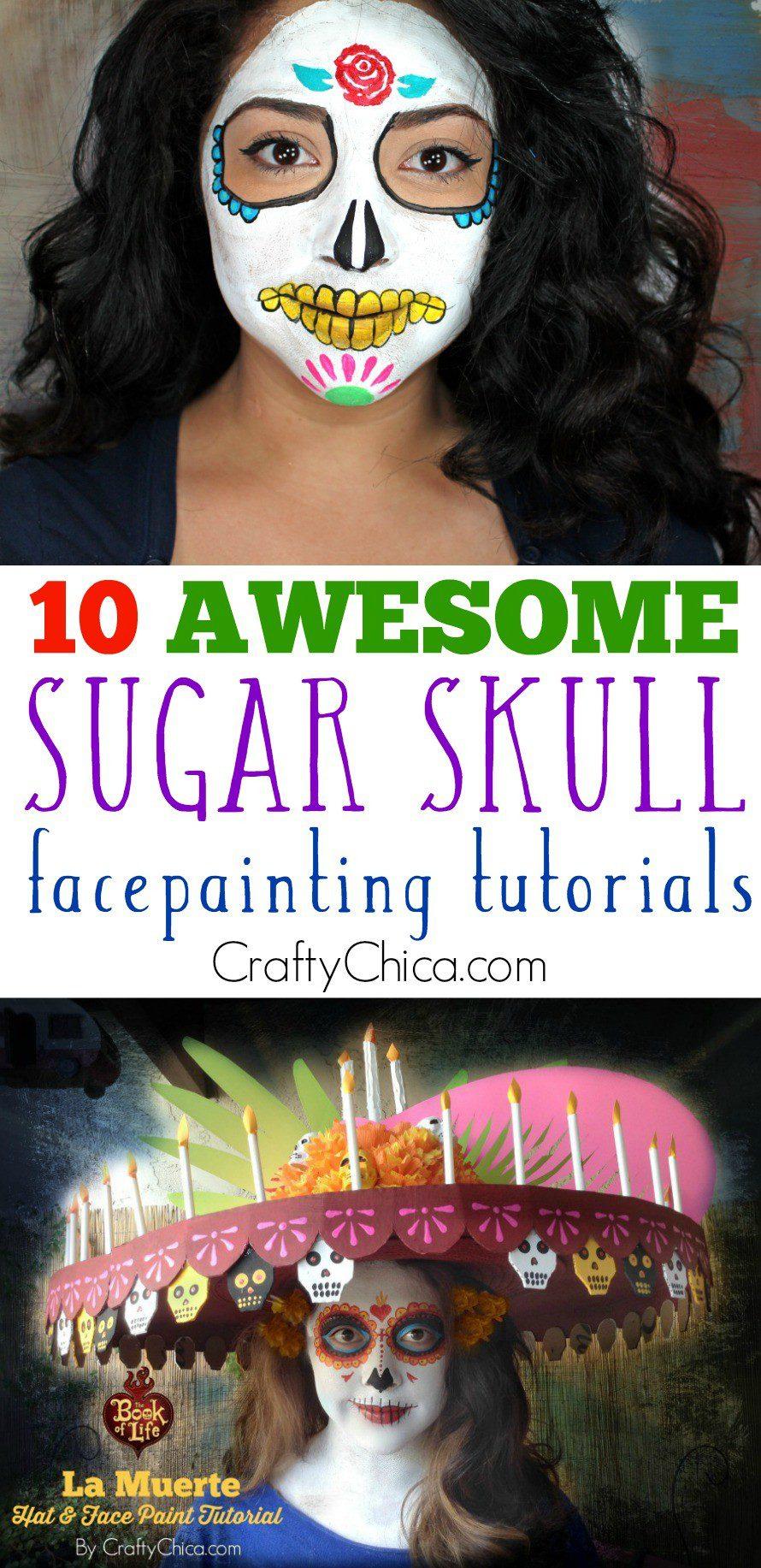 Candy Skull Face Paint : candy, skull, paint, Sugar, Skull, Paint, Tutorials, Crafty, Chica
