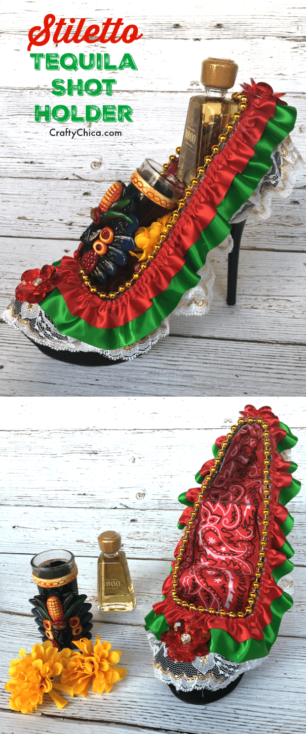 Turn a stiletto into a tequila shot holder, by CraftyChica.com