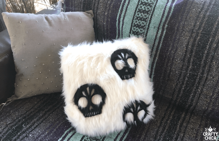 Faux Fur Skull Pillow DIY by CraftyChica.com.