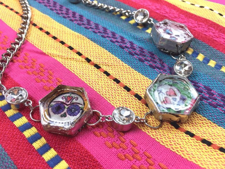 Soldered Sugar Skull Necklace