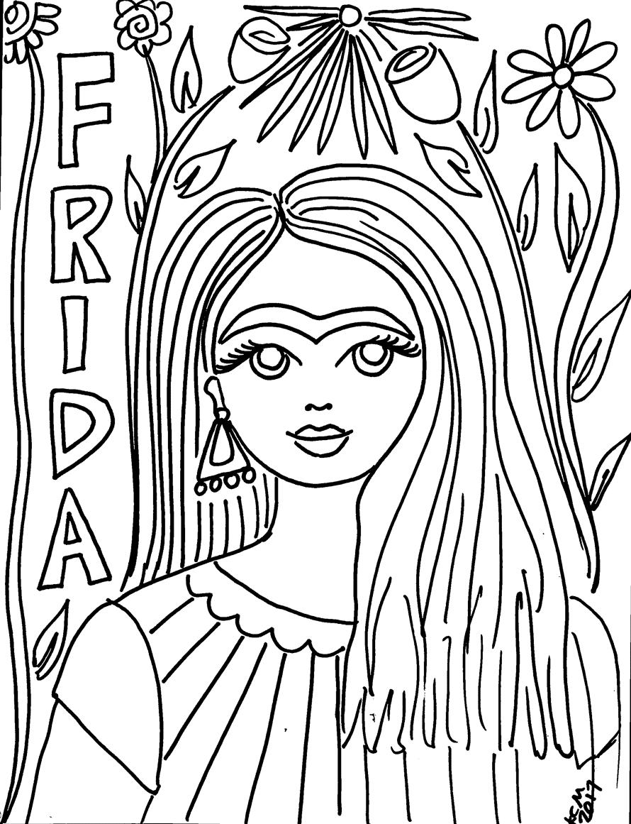 Frida Kahlo Coloring Pages : frida, kahlo, coloring, pages, Frida, Kahlo, Coloring, Pages!, Crafty, Chica
