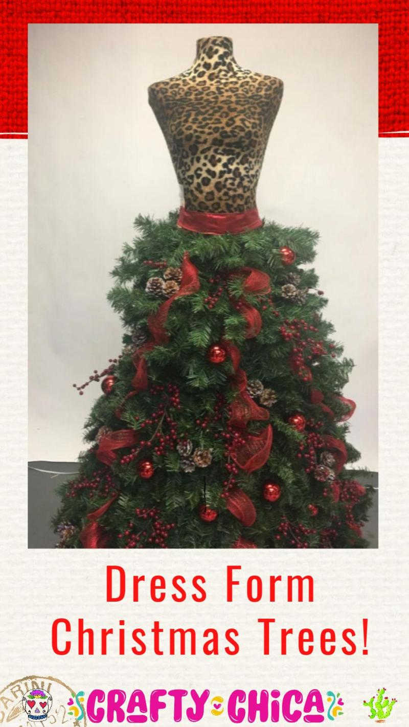 Dress form Christmas tress #craftychica #dressformtree #mannequintree