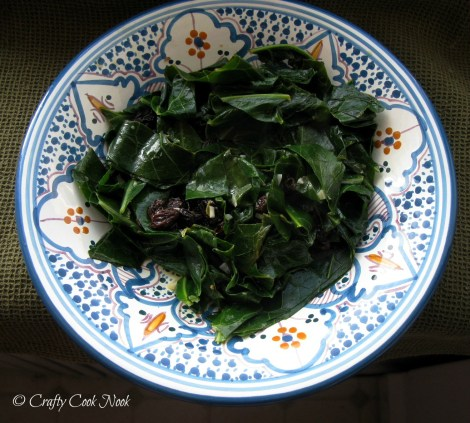 vegetarian times citrus collards with raisins