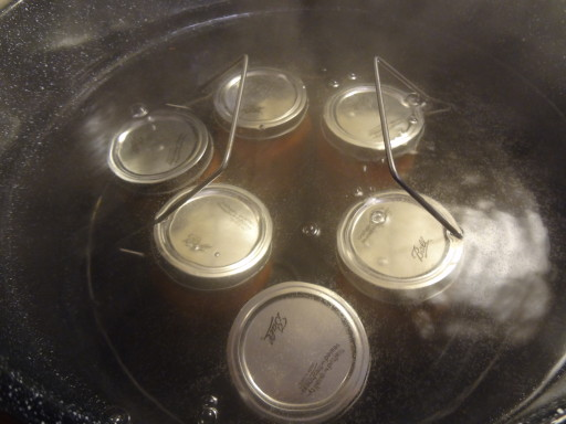 Load jars in canner and boil for 15 minutes.
