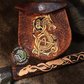 Fenrir Sporran Ulfhednar Sporran Handmade custom leathertooled