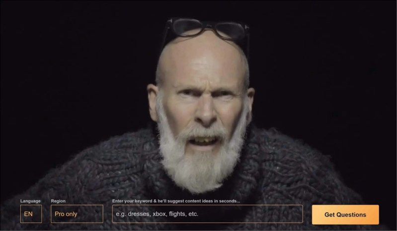 Answer the Public Keyword Search with annoyed old man.