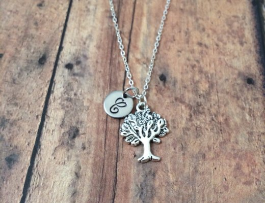 Tree initial necklace