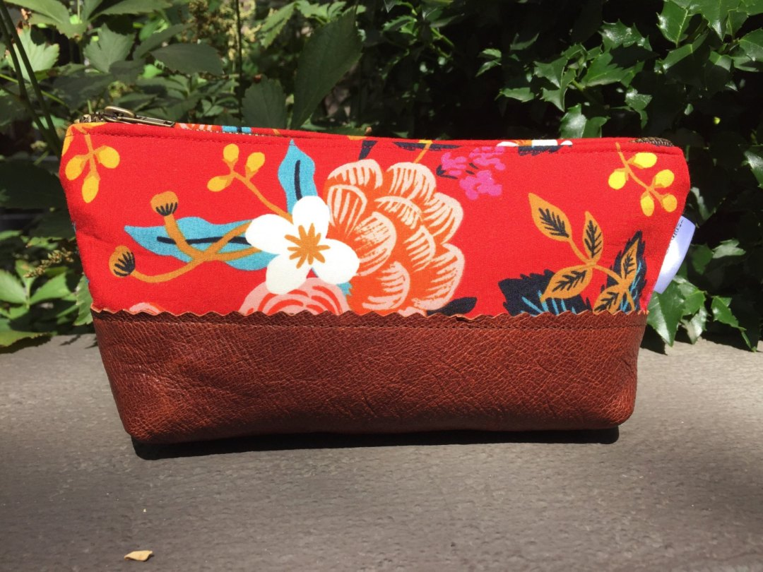 Red Floral Leather Zipper Pouch