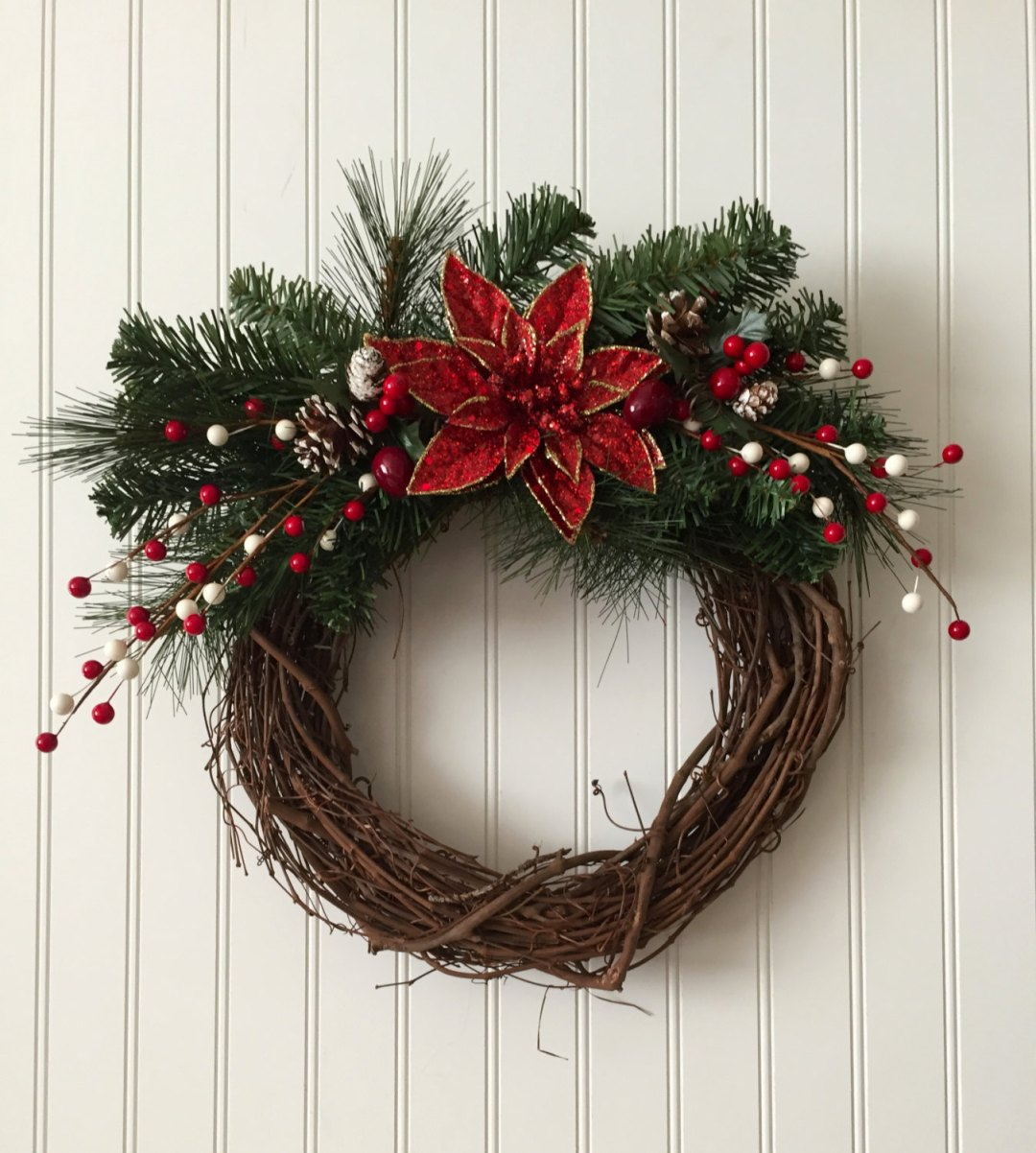 Poinsettia Grapevine Wreath