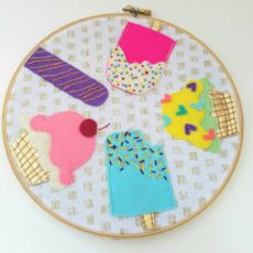 Ice cream | embroidery hoop art