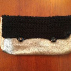 Leather and Crochet Clutch Handbag