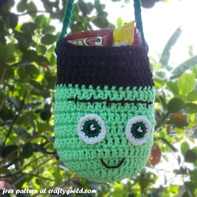 frankenstein trick or treat bag free crochet pattern