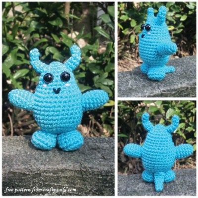 """Boboo"" the Blue Monster Amigurumi"