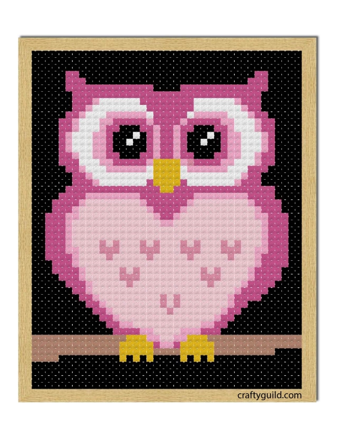 pink owl free cross stitch pattern-craftyguild.com