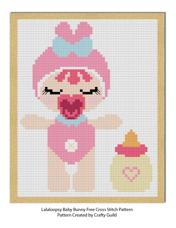 lala loopsy baby bunny cross stitch pattern-craftyguild.com