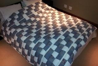 Quilt for queen size bed, diagonal blocks