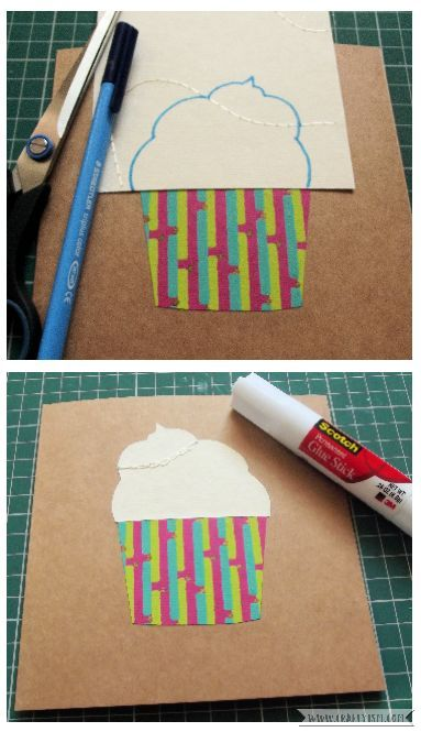 How-to Cupcake Birthday Card Step 2