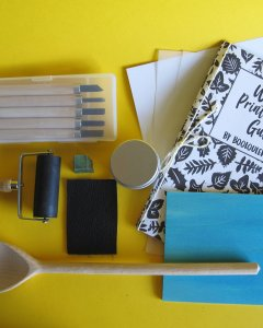 Etsy Holiday Gift Guide - Woodcut Printmaking Kit by BooLouLew
