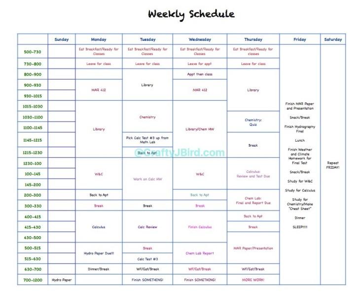 Study Schedules -- Visit CraftyJBird.com for more info...