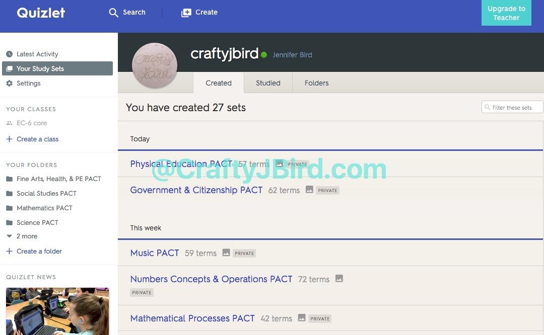 Quizlet - Crafty JBird