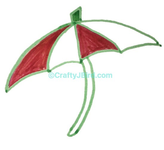 Umbrella Drawing -- Visit CraftyJBird.com for more info...