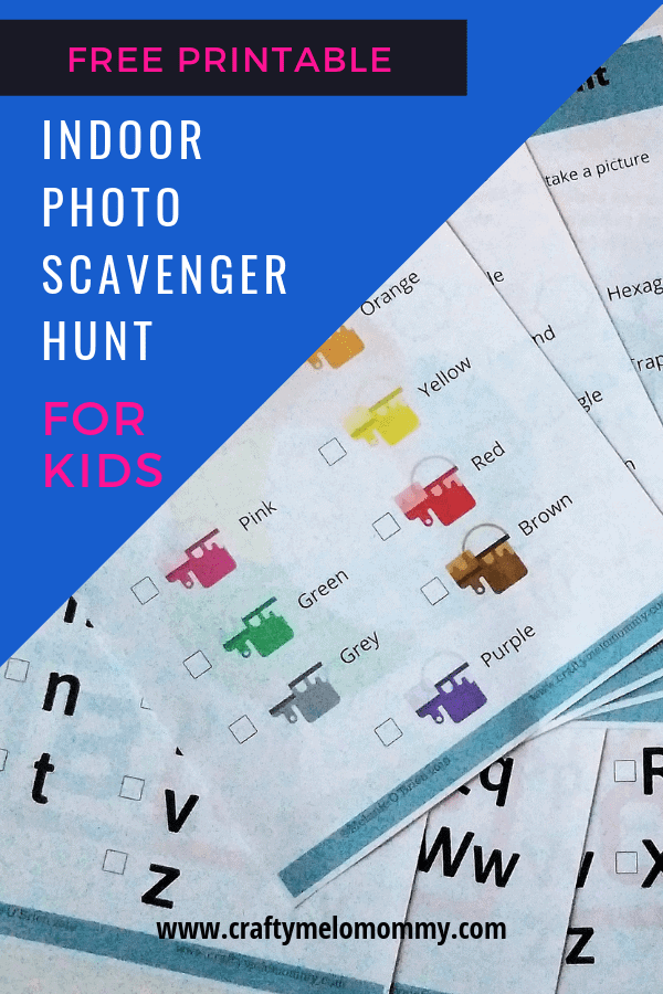 FREE PRINTABLE indoor photo scavenger hunt for kids!