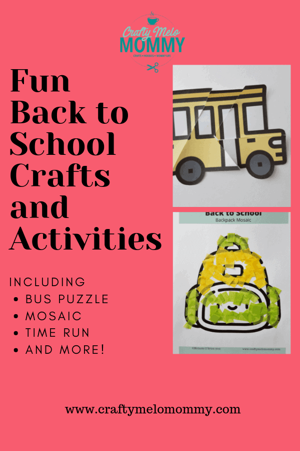 Easy back to school crafts and activities for preschool and toddlers
