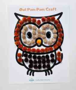 Fall pom pom owl craft for kids