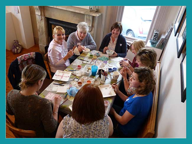 pottery painting party group in Northern Ireland