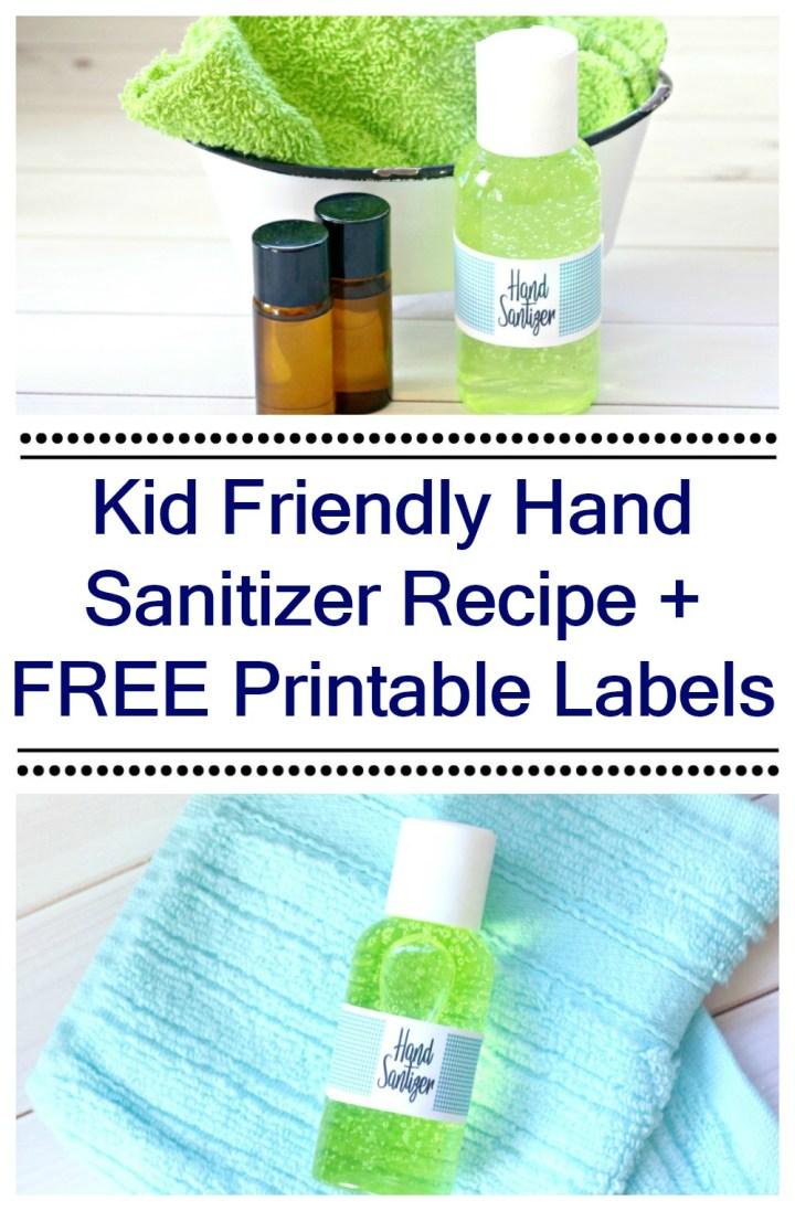 Easy Kid's Gel Hand Sanitizer Recipe washcloth and bottle
