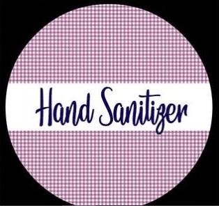 purple gingham hand sanitizer script label