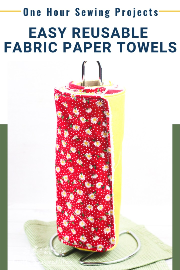How To Make Reusable Fabric Paper Towels on a holder on a green and white gingham napkin