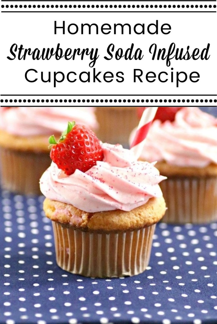 3 strawberry cupcakes with fresh strawberry in frosting and red and white straw on blue and white polka dot napkin Homemade Strawberry Soda Infused Cupcakes Recipe