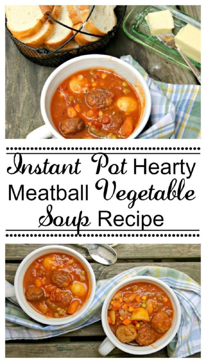 Instant Pot Hearty Meatball Vegetable Soup Recipe in 3 white bowl next to a blue plaid towel