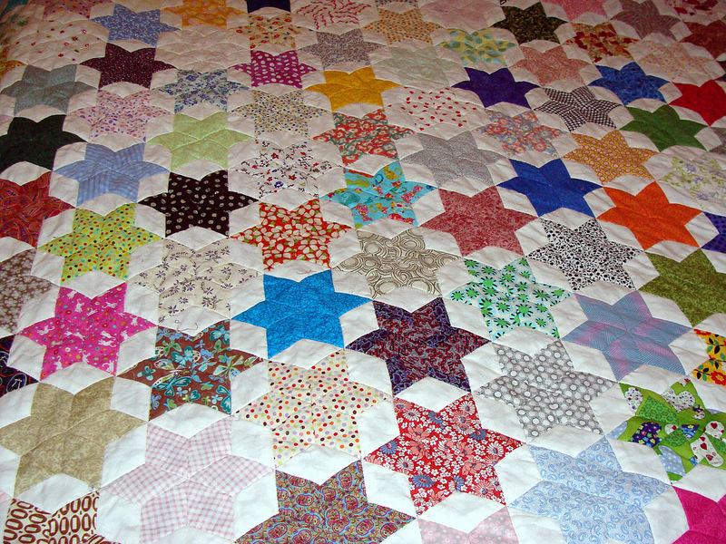 Friendship star quilt - finished quilt top!